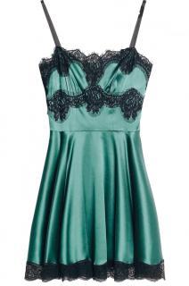 Dolce & Gabbana Green Satin Lace Trim Mini Dress