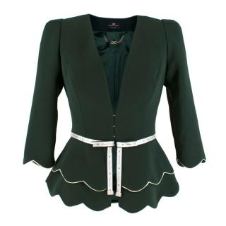 Elisabetta Franchi Green Jacket with Ribbon Trim