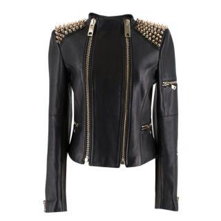 Kimora Lee Simmons Black Studded Leather Jacket