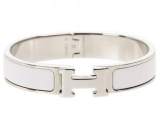 Hermes White Clic H Narrow Bracelet PHW