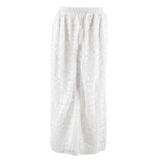 Tularosa Button Down White Lace Maxi Skirt