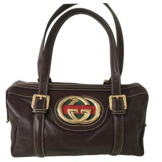 Gucci interlocking GG Brown Leather Tote Bag