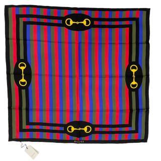 Gucci Striped Baiadera Horsebit silk scarf