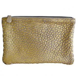Bottega Veneta Grained Leather Gold Pouch