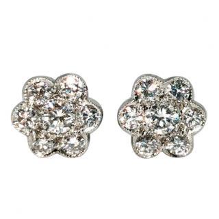Bespoke diamond flower cluster earrings