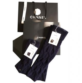 Chanel Navy Cashmere Blend Knit Leg Warmers & Fingerless Gloves