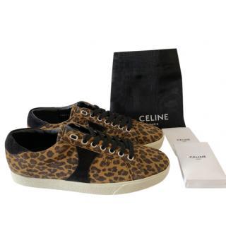 Celine by Hedi Slimane Triomphe Leopard Print Sneakers