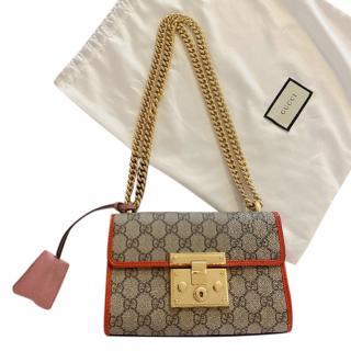 Gucci Supreme Canvas & Patent Leather Padlock Shoulder Bag