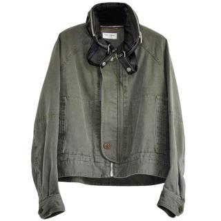 Saint Laurent Khaki Jacket with Detachable Collar & Hood