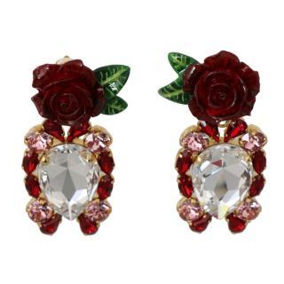 Dolce & Gabbana Crystal Rose Drop Earrings