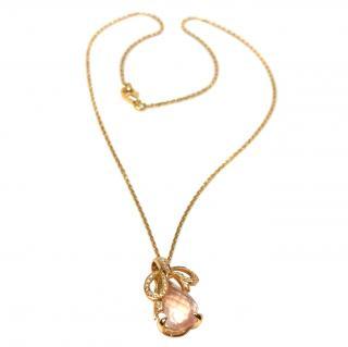 Bespoke French Rose Quartz & Diamond Bow Pendant Necklace