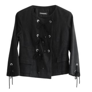 Chanel Black Resort Tweed Lace-Up Jacket