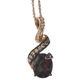 Le Vian Rose Gold Smokey Quartz & chocolate Diamond pendant