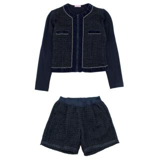 Monnlisa Navy Tweed Short & Jacket Set
