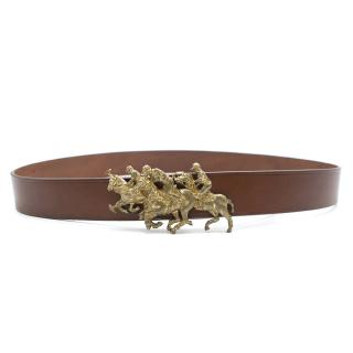 Ralph Lauren Brown Leather Belt with Brass Polo Player