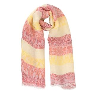 Liberty Embroidered Yellow & Pink Ombre Printed Scarf
