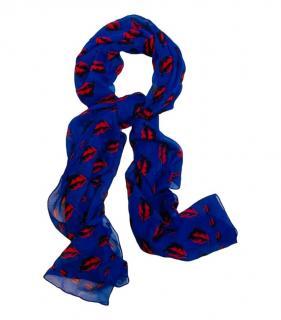 Alexander McQueen Lip Print Silk Scarf