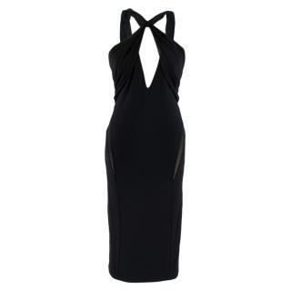 La Perla Black Midi Dress with Cross Strap