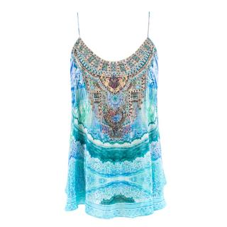 Camilla Blue Printed Embellished Cami Top