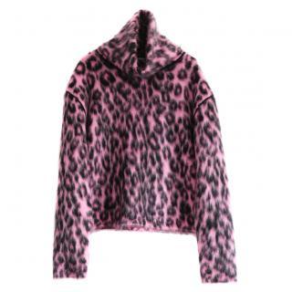 Celine Phoebe Philo pink leopard print mohair jumper