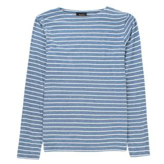 A.P.C Blue and White Striped Long-Sleeved T-shirt