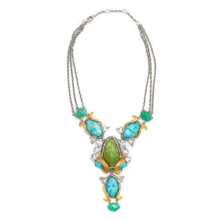 Alexis Bittar Green and Blue Abstract Stone Necklace