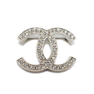 Chanel Silver CC Crystal Pin Brooch