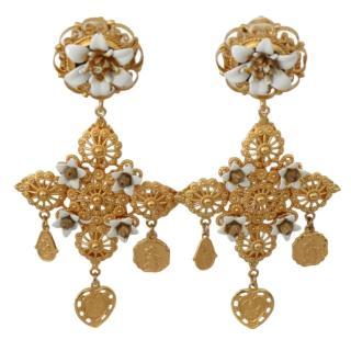Dolce & Gabbana White Gold Tone Chandelier Earrings