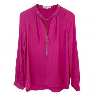Michael Michael Kors Pink Silk Chain Trim Blouse