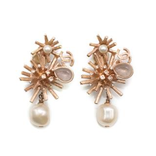 Chanel Rose Gold Abstract Clip on Earrings