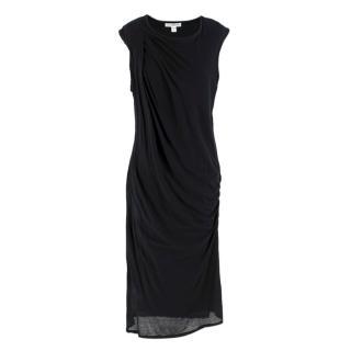 James Perse Black Cotton Midi Dress