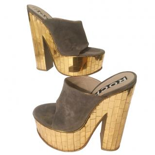 Rochas Taupe Suede Wedges with Mirrored Gold Heel