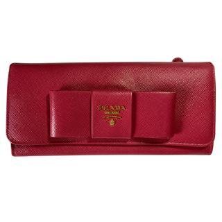 Prada Saffiano Leather Bow Detail Wallet