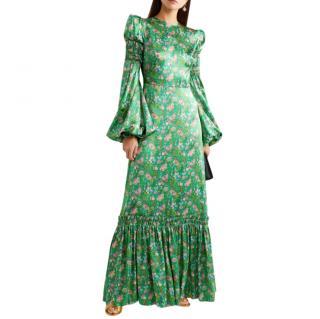 The Vampire's Wife Shirred floral-print silk-satin maxi dress