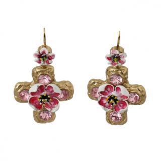 Dolce & Gabbana Gold & Pink Floral Cross Earrings