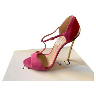 Casadei Pink & Red Suede Blade Pumps
