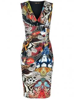 Roberto Cavalli Butterfly Print Sleeveless Fitted Dress