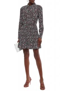 Veronica Beard Floral Print Crepe Shirt Dress