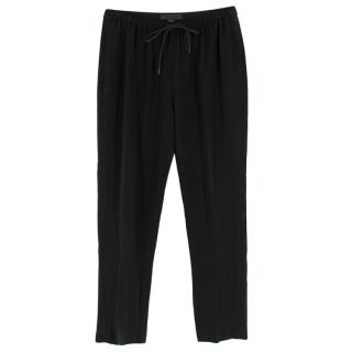 Alexander Wang Black Drawstring Crepe Trousers