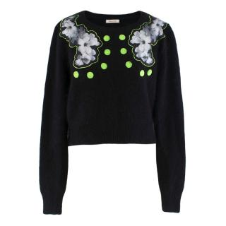 Emma Cook Floral silk neon applique sweater
