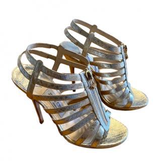 Jimmy Choo Metallic Elaphe Snakeskin Caged Sandals