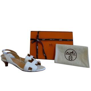 Hermes White Ottomanne Sandals