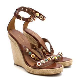 Aquazzura Espadrille Brown Leather Wedges