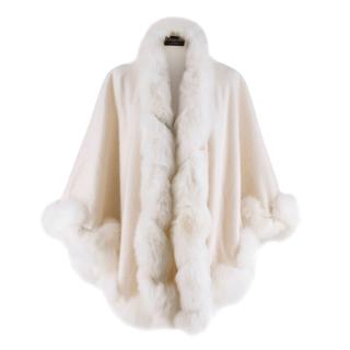 Harrods White Cashmerere Fox Fur Trim Cape