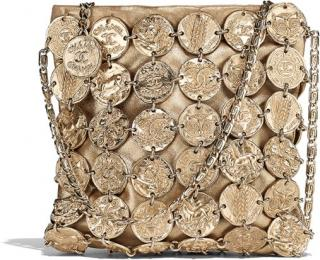 Chanel Metiers D' Art Collection Gold Medallion Chain Bag