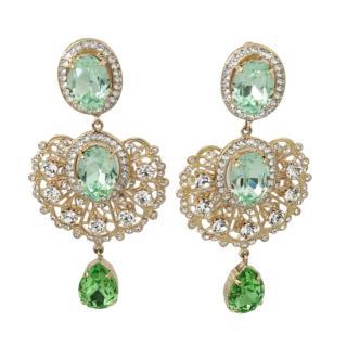 Dolce & Gabbana Green Crystal Chandelier Earrings