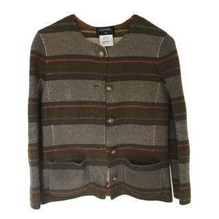 Chanel Striped Cashmere Knit Jacket