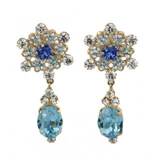 Dolce & Gabbana blue snowflake crystall earrings