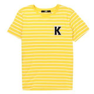 Karl Lagerfeld Yellow Cotton Striped Tshirt