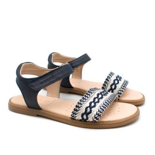 Geox Kids Navy Embroidered Sandals